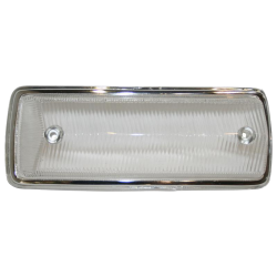 Blinkerglas, weiß / Chromrand, VW T2, vorn links, 211953141J